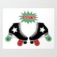 roller derby Art Prints featuring Roller Derby POW! by Otterly Design