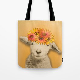 Daisies Sheep Girl Portrait, Mustard Yellow Texturized Background Tote Bag