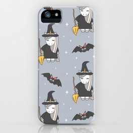 cute cartoon unicorn witch with broom and bats halloween pattern iPhone Case