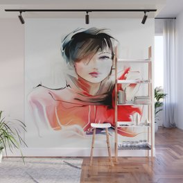 Watercolor Girl V2 Wall Mural