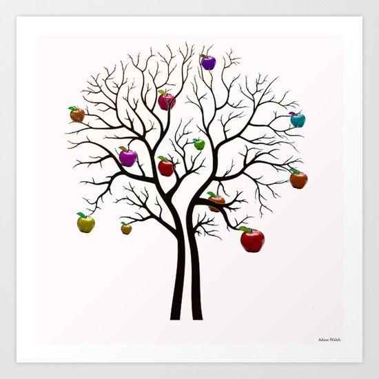 Multicoloured Apple Tree Art Print