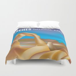 Arches National Park, Utah - Skyline Illustration by Loose Petals Duvet Cover