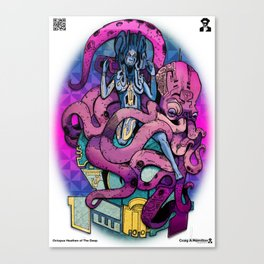Octopus Heathen of the Deep Canvas Print