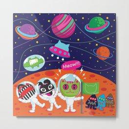 Space Cat in Cat Planet. MEOW!!! Metal Print