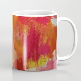 Fight Fire With Fire - Textured Metallic Abstract in red, white, black, orange and yellow Coffee Mug