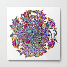 Neon Waffle Monster 12 Metal Print