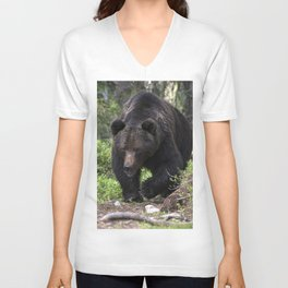 King of forest, male brown bear approaching Unisex V-Neck