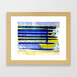 WAY OF THE OCEAN - Yellow & Blue Waves Framed Art Print