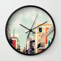 puerto rico Wall Clocks featuring Colorful Buildings of Old San Juan, Puerto Rico by Kim Fearheiley Photography
