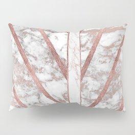 Modern faux rose gold white geometrical marble stripes Pillow Sham