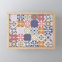 Portuguese pattern color Framed Mini Art Print
