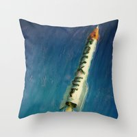 rocket Throw Pillows featuring Rocket by Kevin Garrison