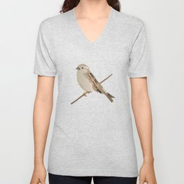 House Sparrow Bird on a Twig Unisex V-Neck