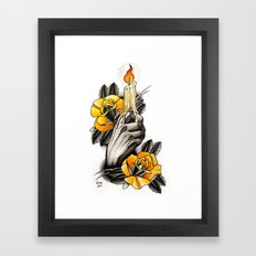 Hand holding CANDLE - tattoo Framed Art Print