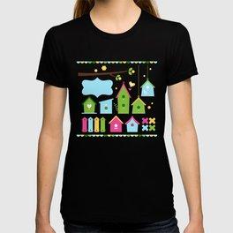 Beautiful colorful spring bird houses T-shirt