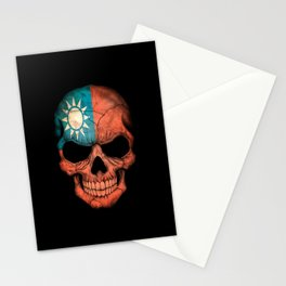 Dark Skull with Flag of Taiwan Stationery Cards