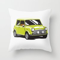 mini cooper Throw Pillows featuring Mini Cooper Car - Chartreuse by C Barrett