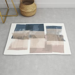 "Navy and Pink Minimalist Geometric Abstract ""Building Blocks"" Rug"