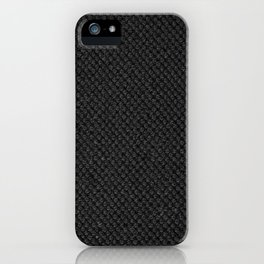 Black flax cloth texture abstract iPhone Case