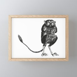 Say Cheese! | Tarsier with Vintage Camera | Black and White Framed Mini Art Print
