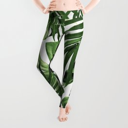 Tropical Jungle Leaves Pattern #12 #tropical #decor #art #society6 Leggings