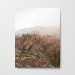 Red Atlas mountains of Ourika Morocco | Marrakech travel photography | Golden hour Metal Print