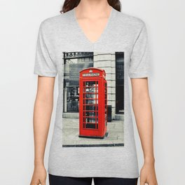 British Telephone Booth Unisex V-Neck