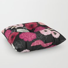 Black & Pink Flowers Midnight Floor Pillow