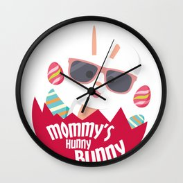 Mom Hunny Bunny Easter Funny Boys Girls Men Women Wall Clock