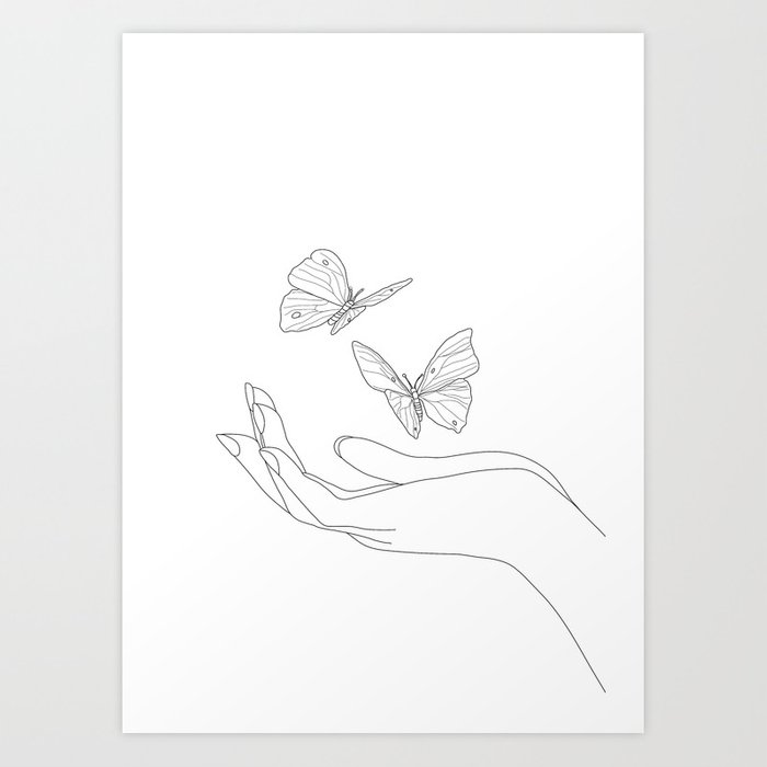 Butterflies on the Palm of the Hand Art Print