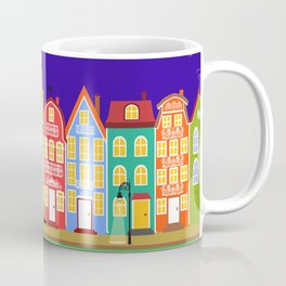 Cute Night Town Cartoon Houses Coffee Mug