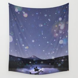 Canoe at Mount Fuji Wall Tapestry