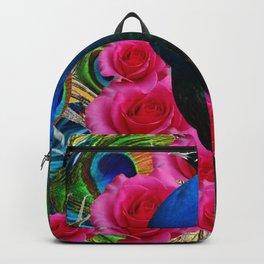 BLUE PEACOCK &  PINK ROSE FLOWERS BLUE MODERN ART Backpack