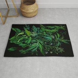 Summer Greenery, Green & Black Rug