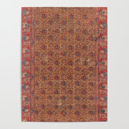 Mustard Floral Vine I // 17th Century Distressed Red Yellow Blue Colorful Ornate Accent Rug Pattern Poster