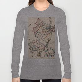 Vintage Map of New Jersey (1819) Long Sleeve T-shirt