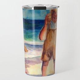 Watercolor Boy with Seashell Travel Mug