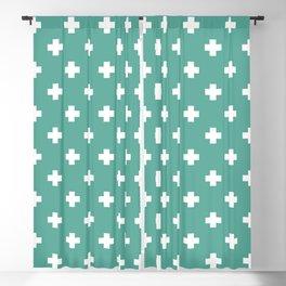 White Swiss Cross Pattern on Green Blue background Blackout Curtain