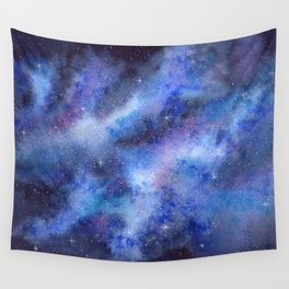 Starry Blue Galaxy Watercolor Wall Tapestry