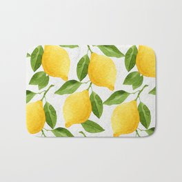 Watercolor Lemons Bath Mat