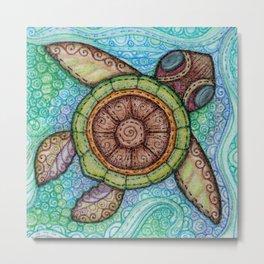 Sea Turtle Square Metal Print