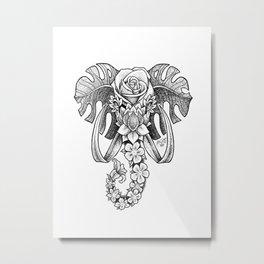 Botanical Elephant Metal Print