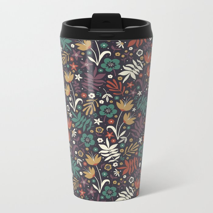 Midnight Florals Metal Travel Mug