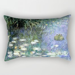 Water Lilies with Frog Rectangular Pillow