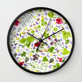 Leaves and flowers pattern (27) Wall Clock