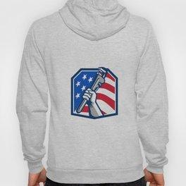 Plumber Hand Pipe Wrench USA Flag Retro Hoody