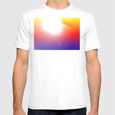 HE'S BACK MEDIUM White Mens Fitted Tee