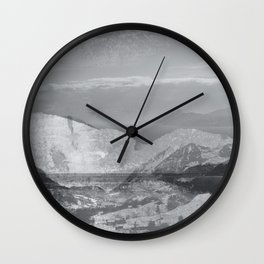 Vintage landscape layer collage photography - black and white Wall Clock