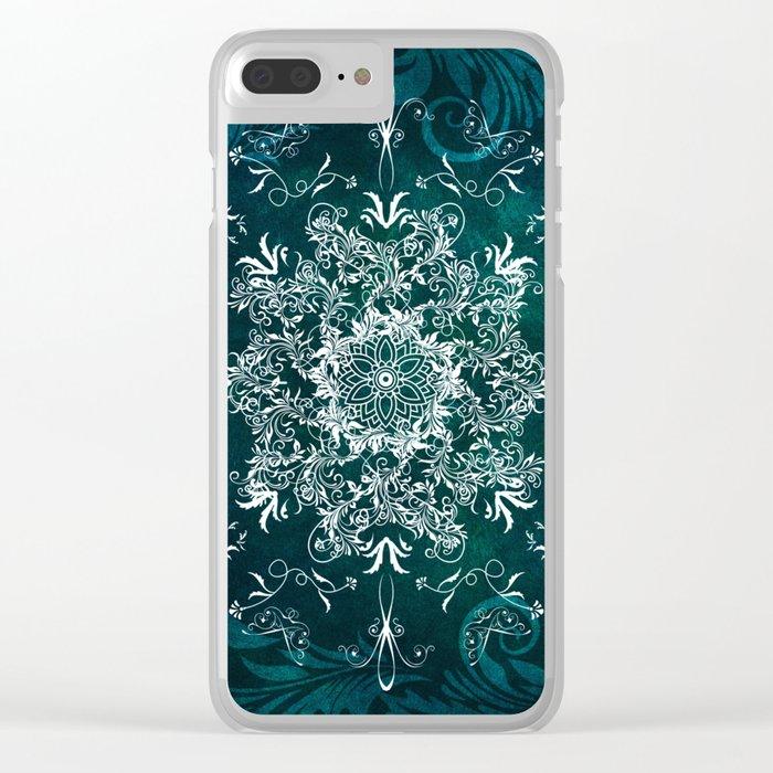 Elegant Floral leaf pattern Blue Green Clear iPhone Case