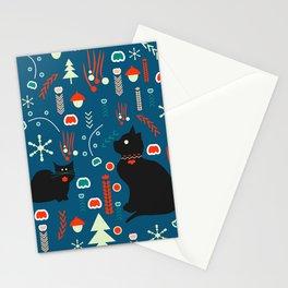 Black kitties in winter Stationery Cards
